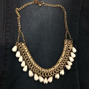 White and gold beaded statement necklace